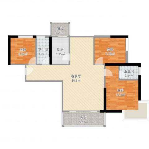 宝丰绿洲3室2厅2卫1厨92.00㎡户型图