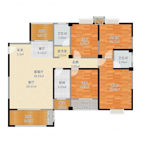 华泉盛世豪庭4室2厅2卫1厨140.00㎡户型图