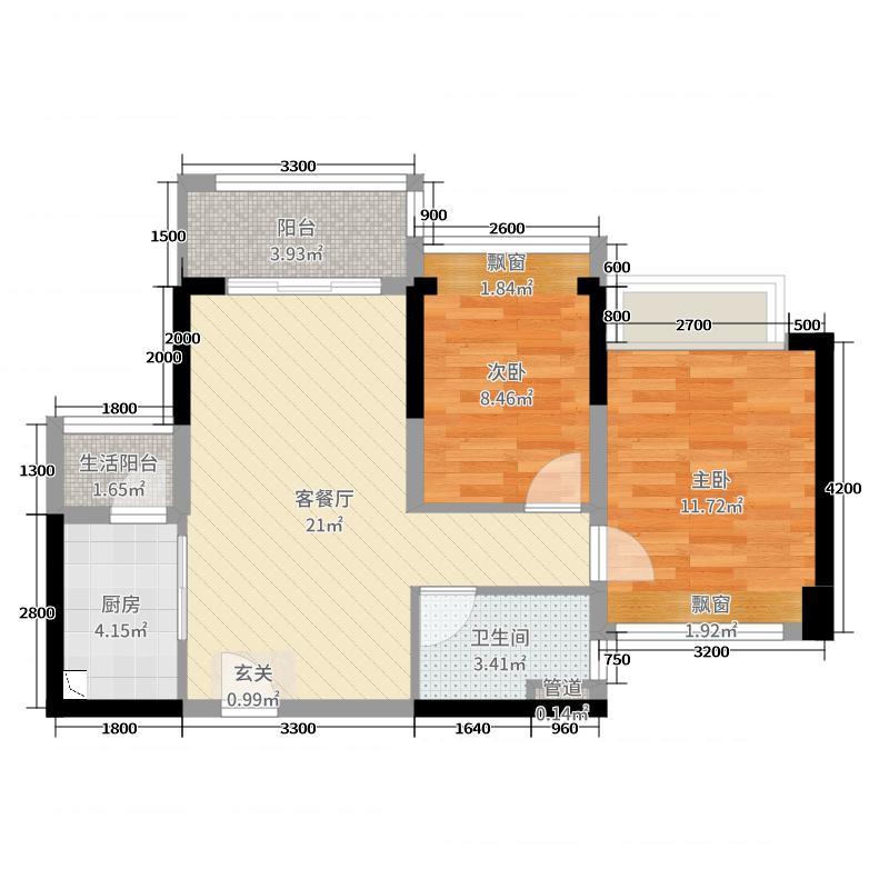 龙光玖龙湾69.60㎡D户型2室2厅1卫1厨
