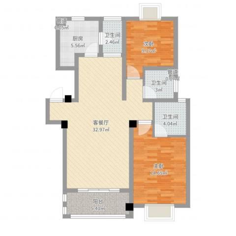 碧螺山庄2室2厅3卫1厨97.00㎡户型图