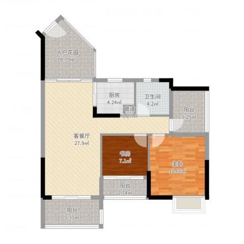 盛天龙湾2室2厅1卫1厨98.00㎡户型图