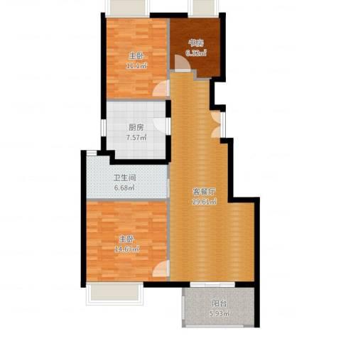 万科金色华亭3室2厅1卫1厨102.00㎡户型图