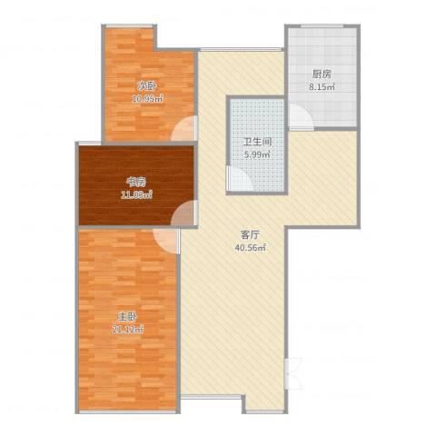 左邻右里3室1厅1卫1厨122.00㎡户型图