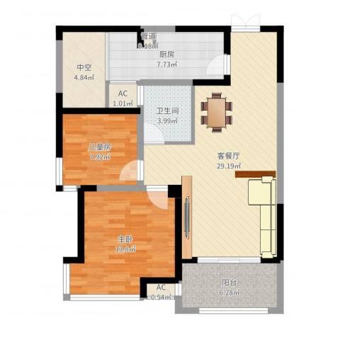 海门东恒盛国际公馆2室2厅1卫1厨94.00㎡户型图