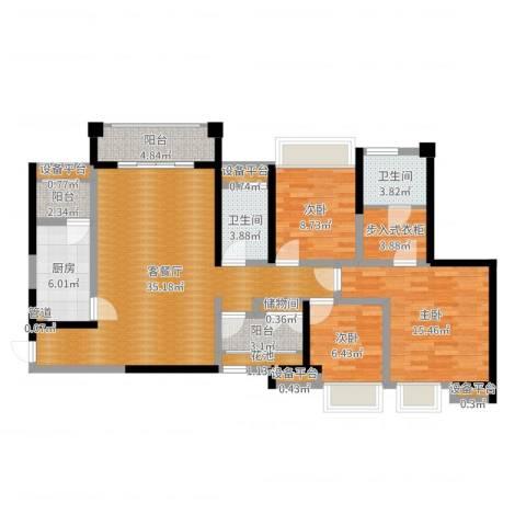 ICON尚郡3室2厅2卫1厨122.00㎡户型图