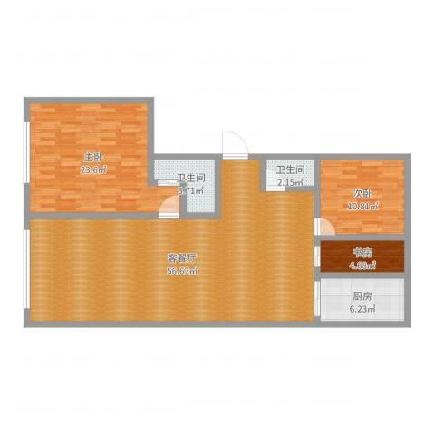 文景家园3室2厅2卫1厨135.00㎡户型图