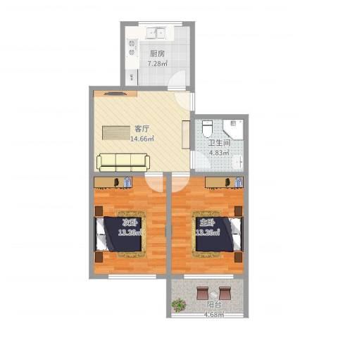 育秀五区2室1厅1卫1厨72.00㎡户型图