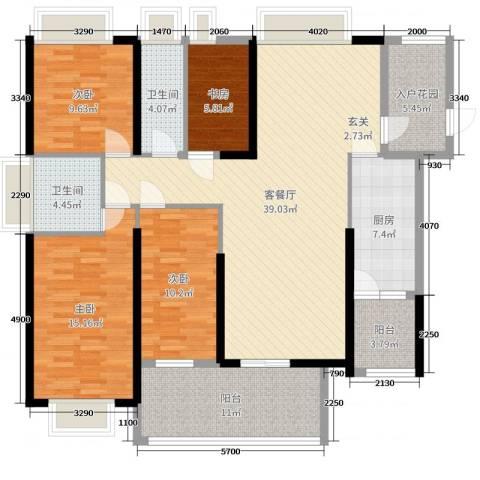 恒大帝景4室2厅2卫1厨143.00㎡户型图
