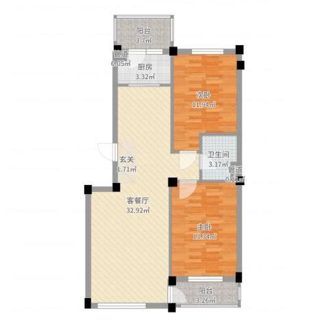 长鹭晶品缘林2室2厅1卫1厨90.00㎡户型图