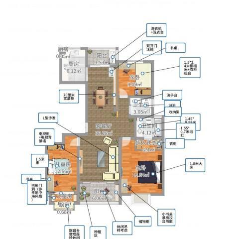 宏基・阳光尚城4室2厅3卫3厨127.00㎡户型图
