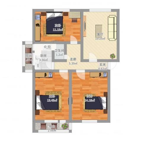 普利永庆街1号3室1厅1卫1厨98.00㎡户型图