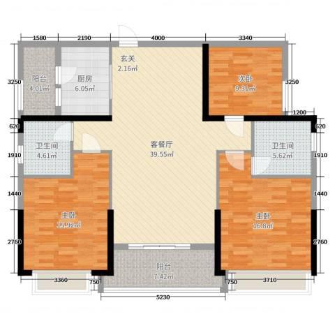 恒大帝景3室2厅2卫1厨109.30㎡户型图