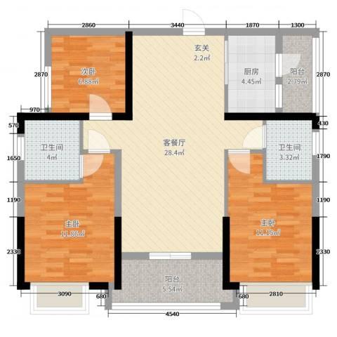 恒大帝景3室2厅2卫1厨98.00㎡户型图