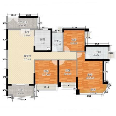 雅居乐・剑桥郡4室2厅2卫1厨147.00㎡户型图