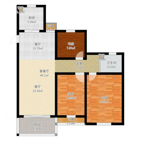 百盛花园3室2厅1卫1厨122.00㎡户型图