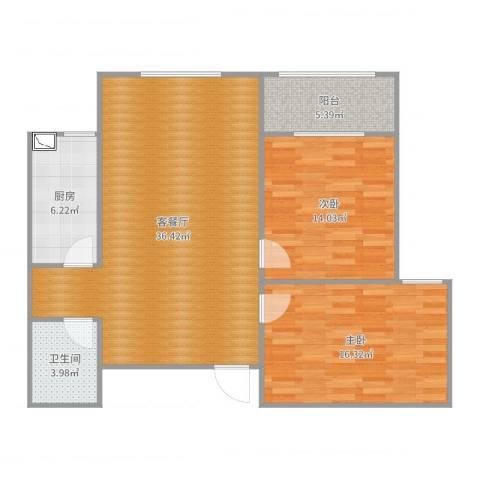 香港城2室2厅1卫1厨103.00㎡户型图