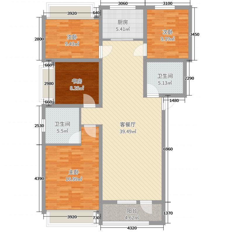 廊坊孔雀城大学里130.38㎡G5三居户型3室3厅2卫1厨