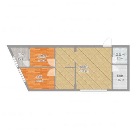 君成雍和园B#-01-08_设计方案2室2厅1卫1厨74.00㎡户型图