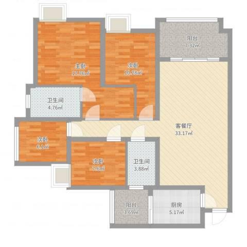 龙湖江与城千山万树4室2厅2卫1厨125.00㎡户型图