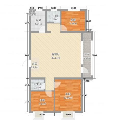 中国MALL・城市之星3室2厅2卫1厨115.00㎡户型图