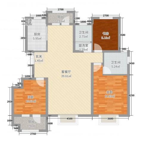 中国MALL・城市之星3室2厅2卫1厨125.00㎡户型图