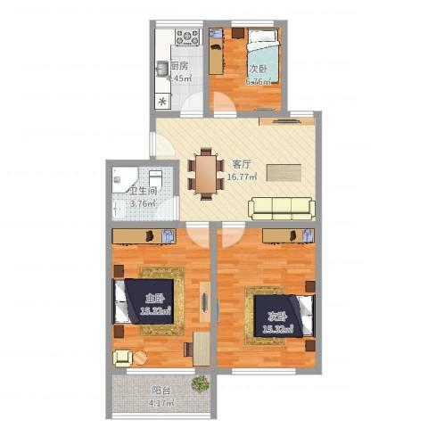 育秀七区3室1厅1卫1厨83.00㎡户型图