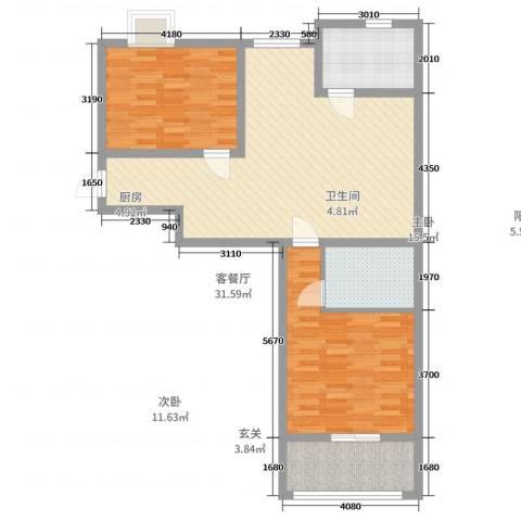 华县东胜阳光小区2室2厅1卫1厨93.00㎡户型图
