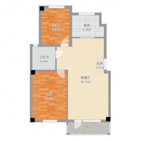 中体奥林匹克花园2室2厅1卫1厨94.00㎡户型图