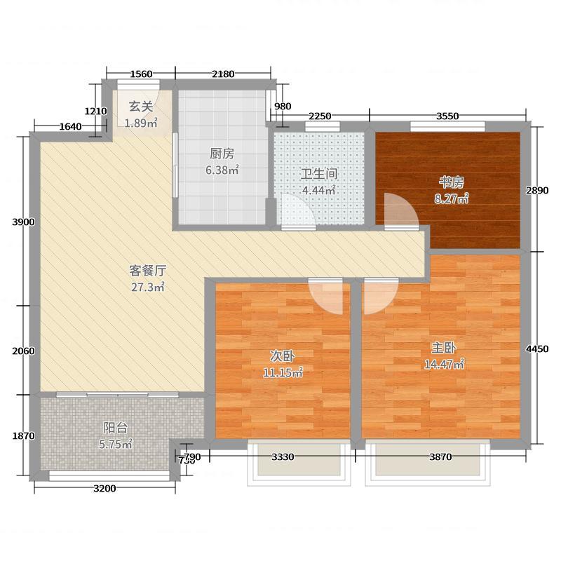 书香华府98.00㎡高层D3D6D10中间户D户型3室3厅1卫