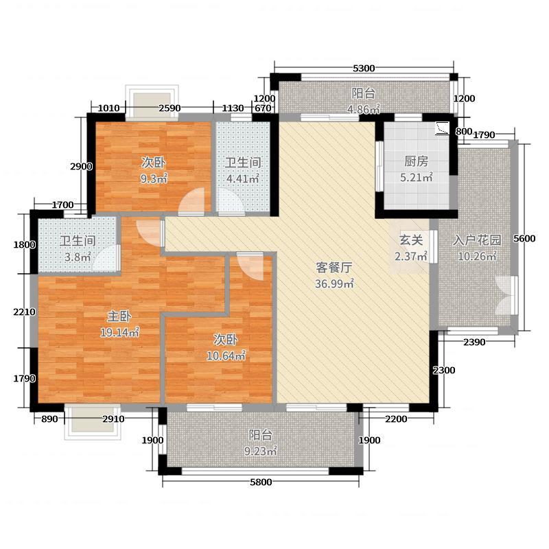 经纬凯旋城133.52㎡誉峰27座标准层01/28座标准层03户型3室3厅2卫1厨