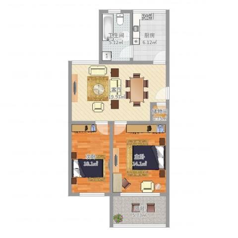 芙蓉新村一街坊2室1厅1卫1厨77.00㎡户型图