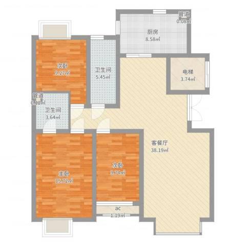 豪绅嘉苑3室2厅2卫1厨120.00㎡户型图