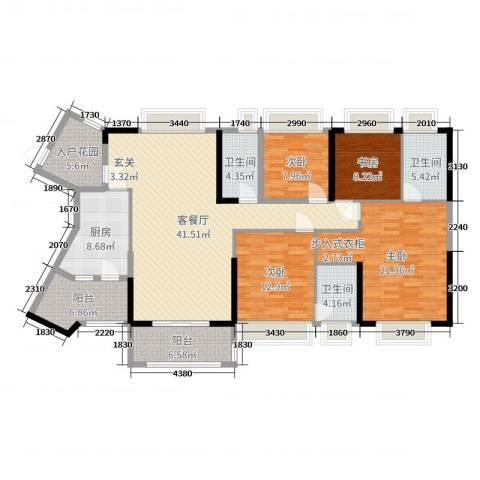 恒大帝景4室2厅3卫1厨167.00㎡户型图