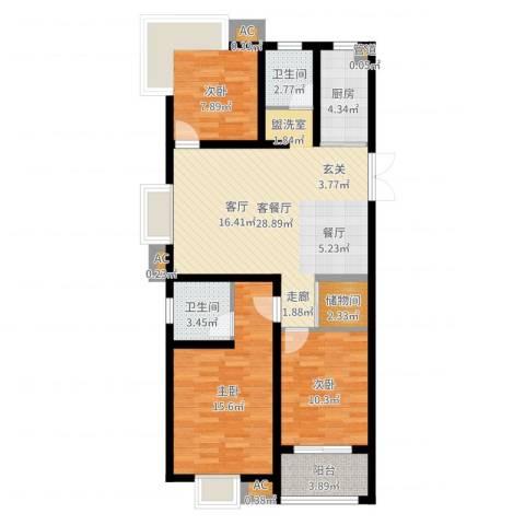 正益育龙湾3室2厅2卫1厨101.00㎡户型图