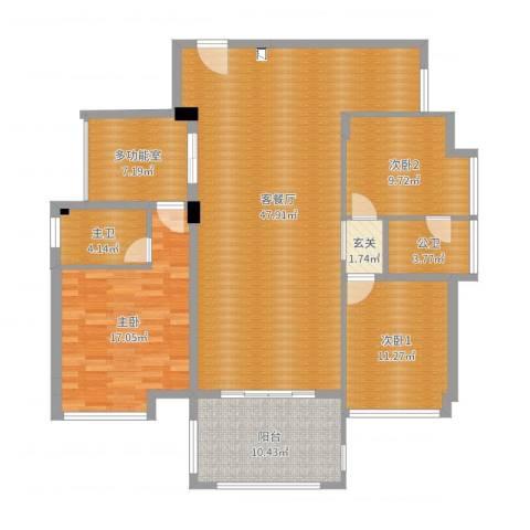 水映山1室2厅2卫2厨142.00㎡户型图
