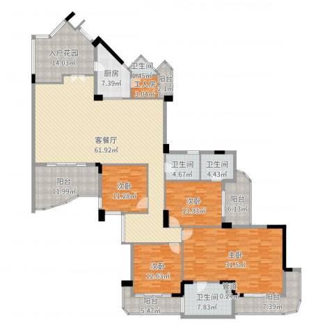 星河传说聚星岛B区4室2厅4卫1厨259.00㎡户型图
