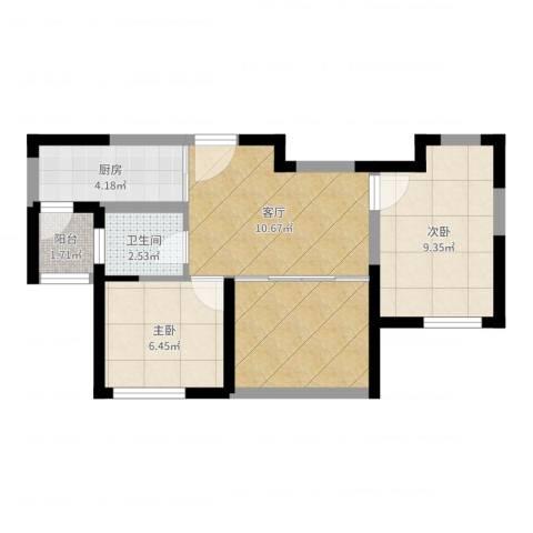 滨海欣嘉园2室1厅1卫1厨53.00㎡户型图