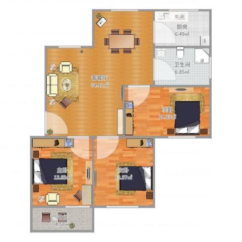 石亭小区3室2厅1卫1厨117.00㎡户型图