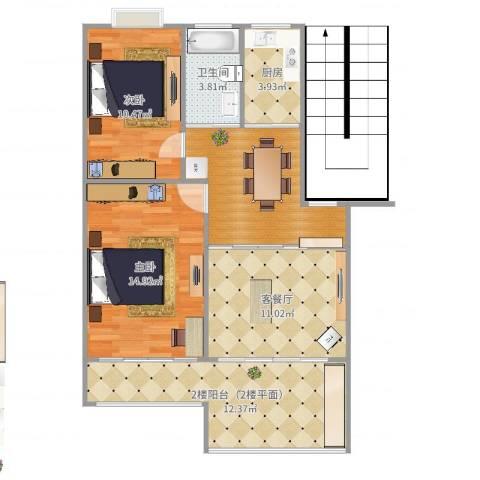 东林锦峰苑2室2厅1卫1厨83.00㎡户型图