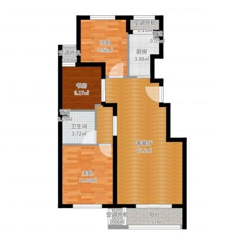 首开・缇香郡3室2厅7卫1厨86.00㎡户型图