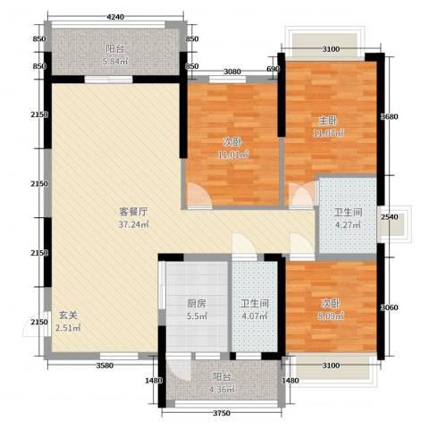 恒大帝景3室2厅2卫1厨113.00㎡户型图
