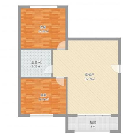 海苑花园2室2厅1卫1厨100.00㎡户型图