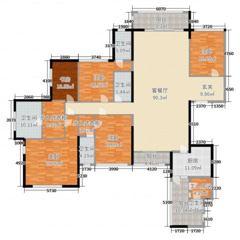 恒大帝景5室2厅5卫1厨325.00㎡户型图