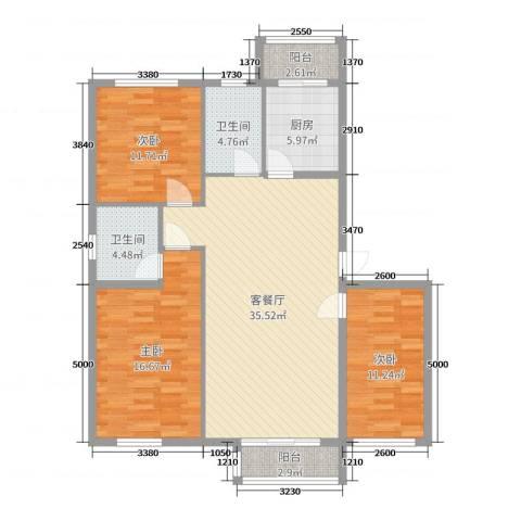 荣泰尚都3室2厅2卫1厨119.00㎡户型图