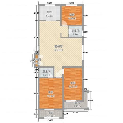 荣泰尚都3室2厅2卫1厨116.00㎡户型图