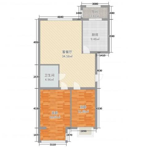 荣泰尚都2室2厅1卫1厨102.00㎡户型图