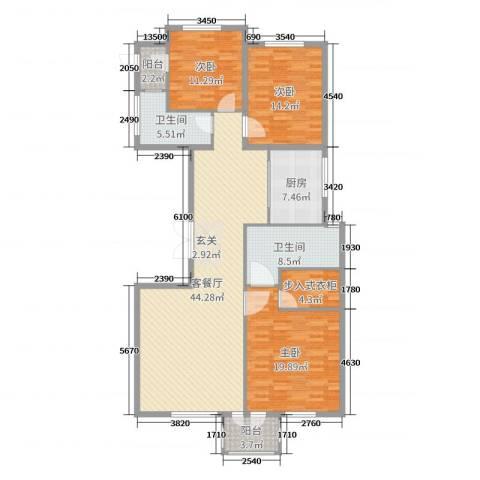 华鼎泰富公馆3室2厅2卫1厨121.33㎡户型图