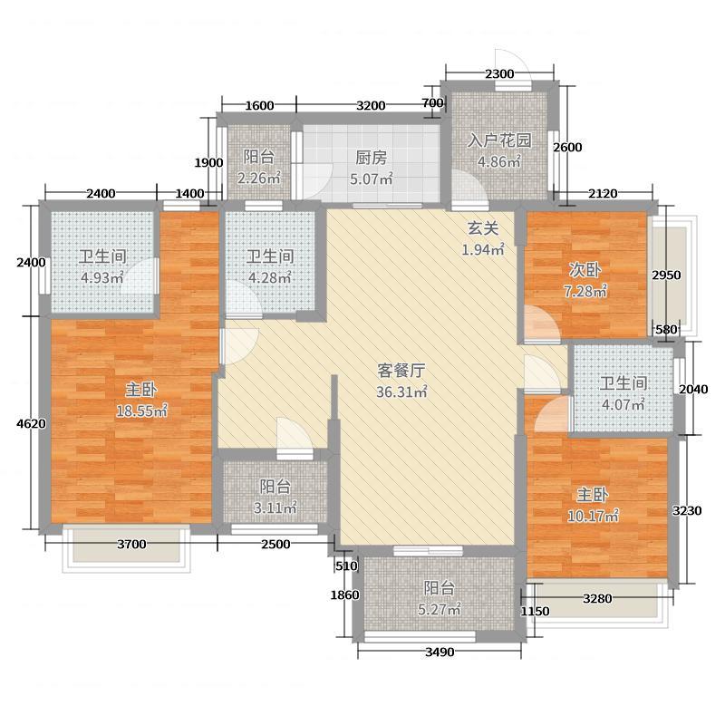 博富南湖壹�132.76㎡7座03单元户型4室4厅3卫1厨