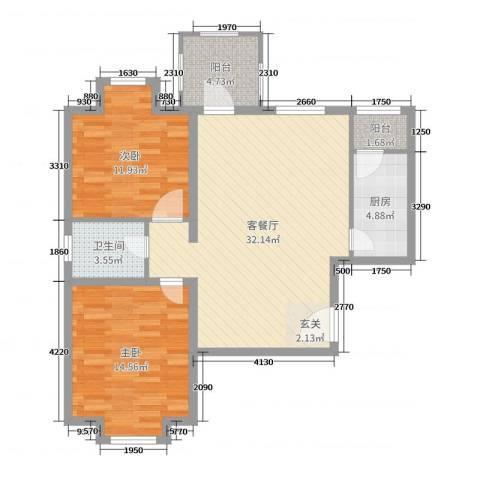 华鼎泰富公馆2室2厅1卫1厨73.46㎡户型图