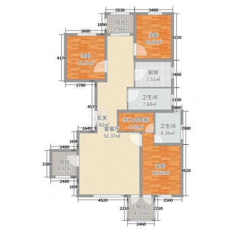 华鼎泰富公馆3室2厅2卫1厨134.78㎡户型图